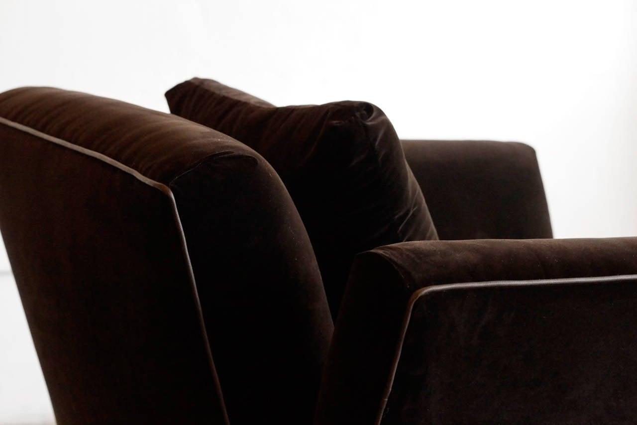 Large Vintage Club Chair In Brown Velvet At 1stdibs