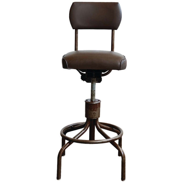 Vintage Machine Age Drafting Stool with Back at 1stdibs : 1140558l from www.1stdibs.com size 768 x 768 jpeg 21kB