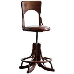 Antique Wood Drafting Stool, circa 1890s