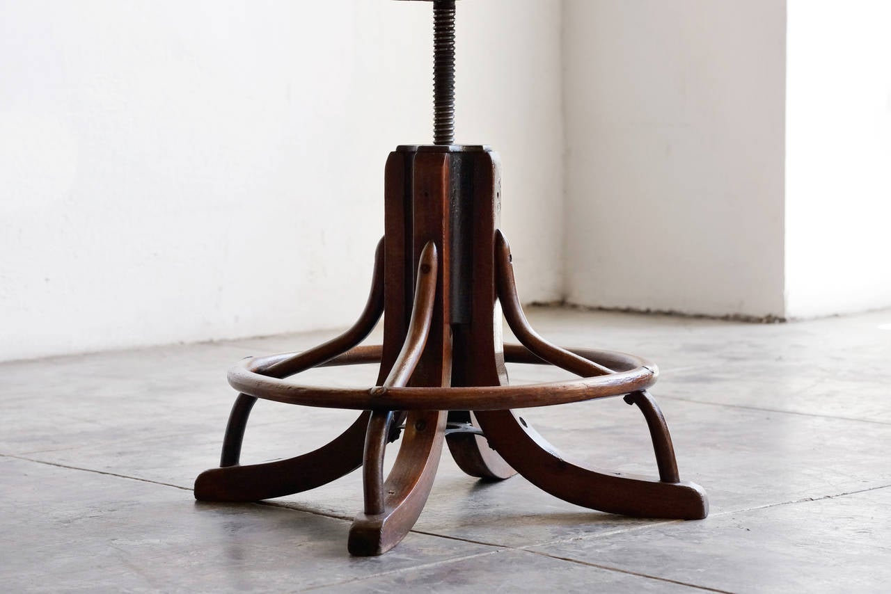 Antique wood drafting stool circa 1890s image 6