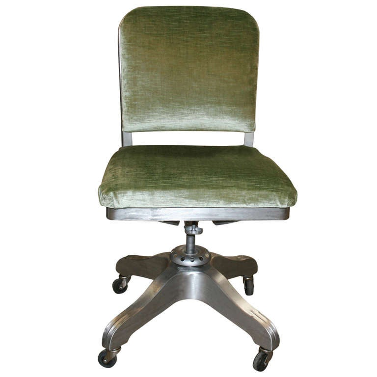 Armless Solid Back Aluminum Steno Desk Chair At 1stdibs