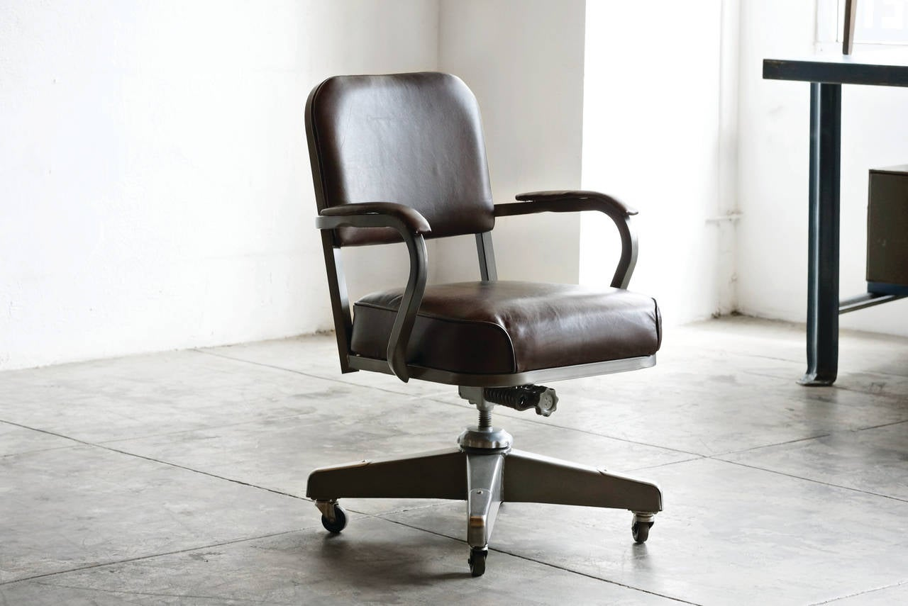 1960s Solid Back Steno Chair By Mcdowell Craig Refinished