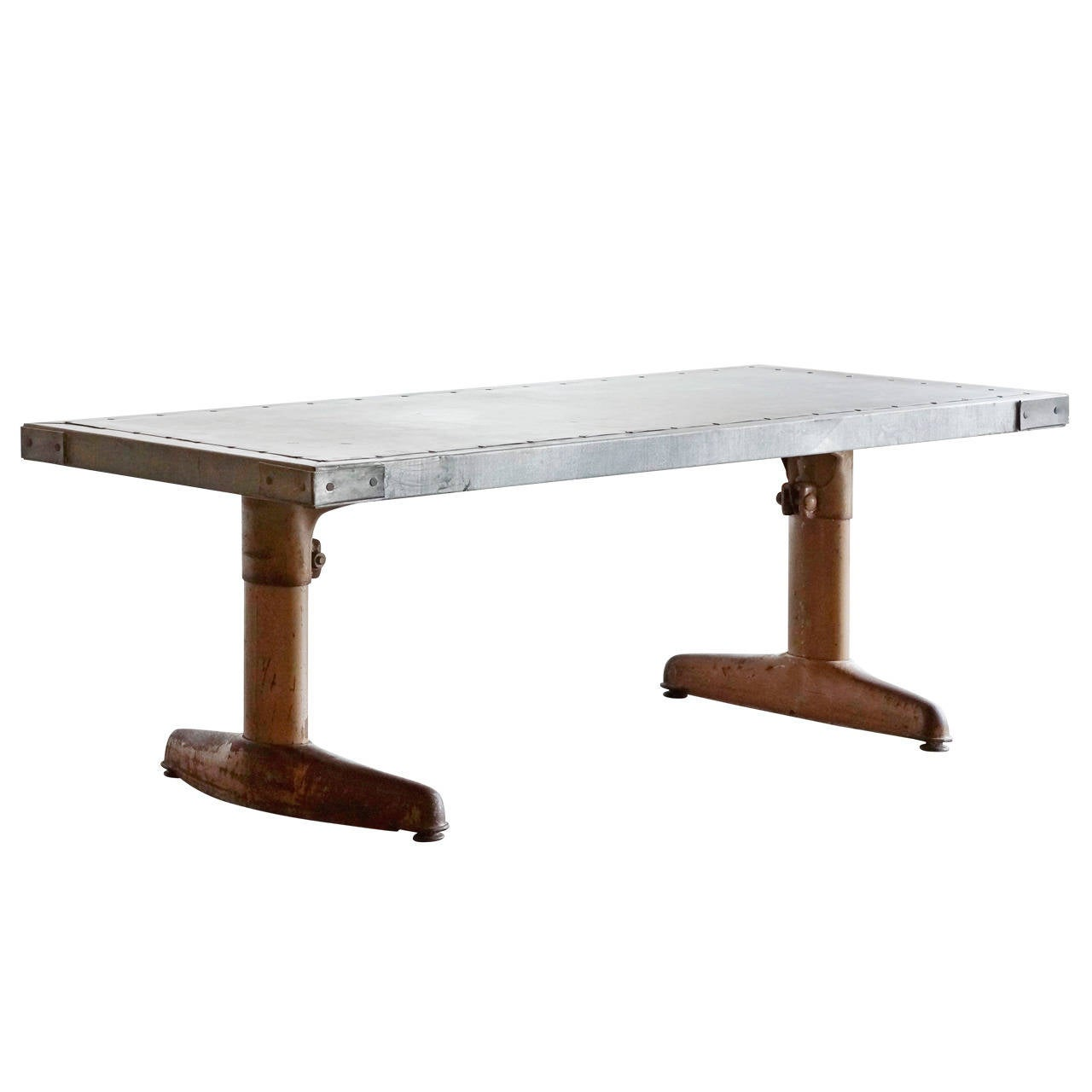 Mid century coffee table with custom zinc top adjustable for Adjustable coffee table