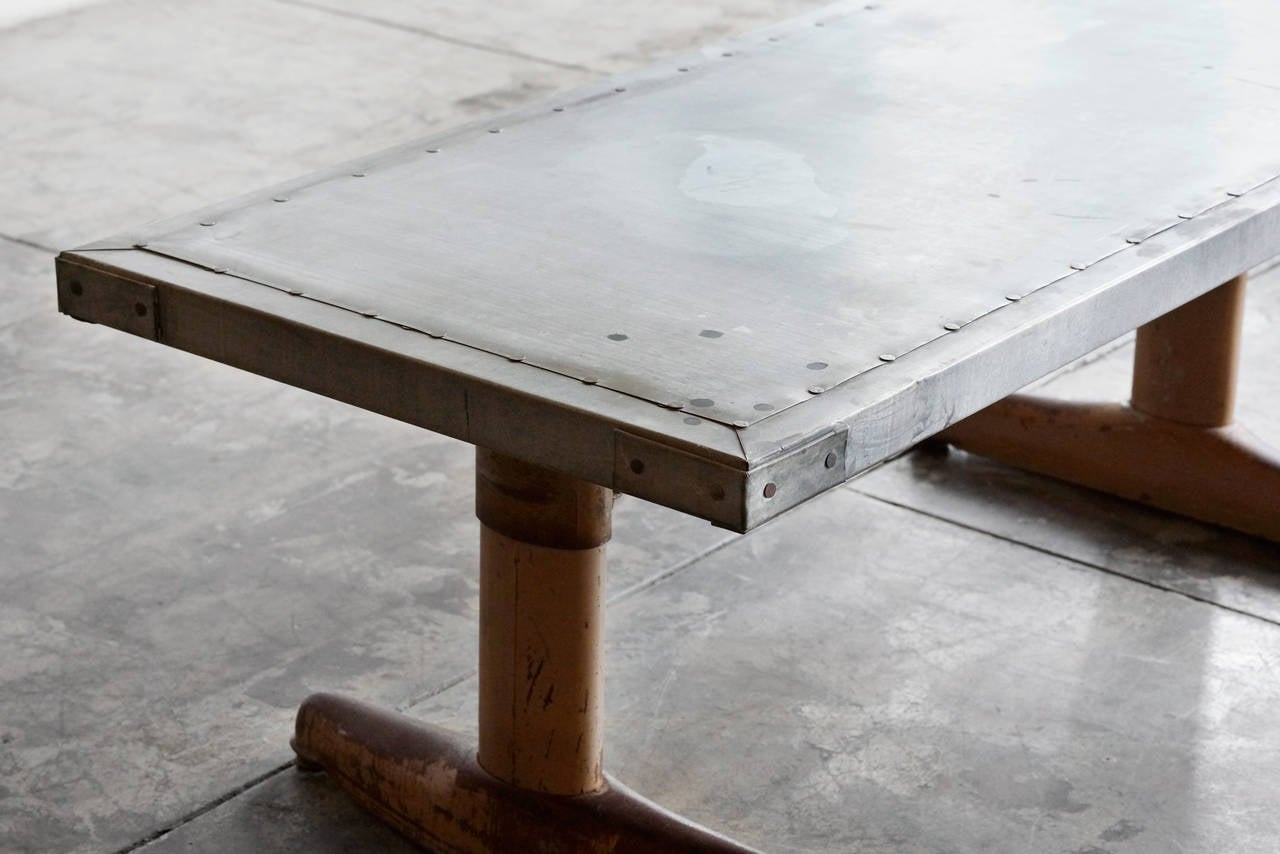 Mid Century Coffee Table With Custom Zinc Top Adjustable At 1stdibs