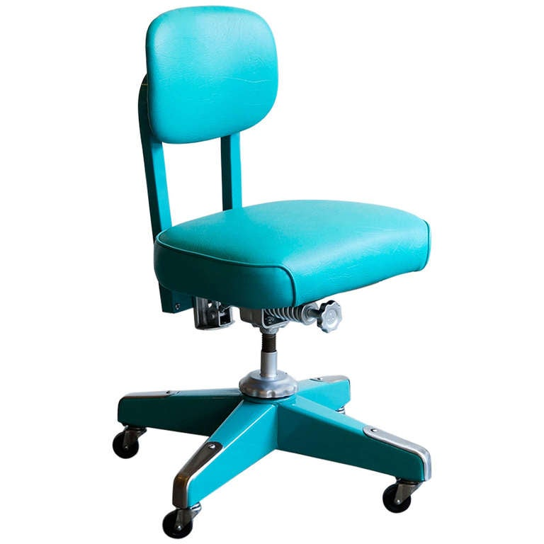 Vintage Armless Task Chair Refinished in Monochrome Turquoise at