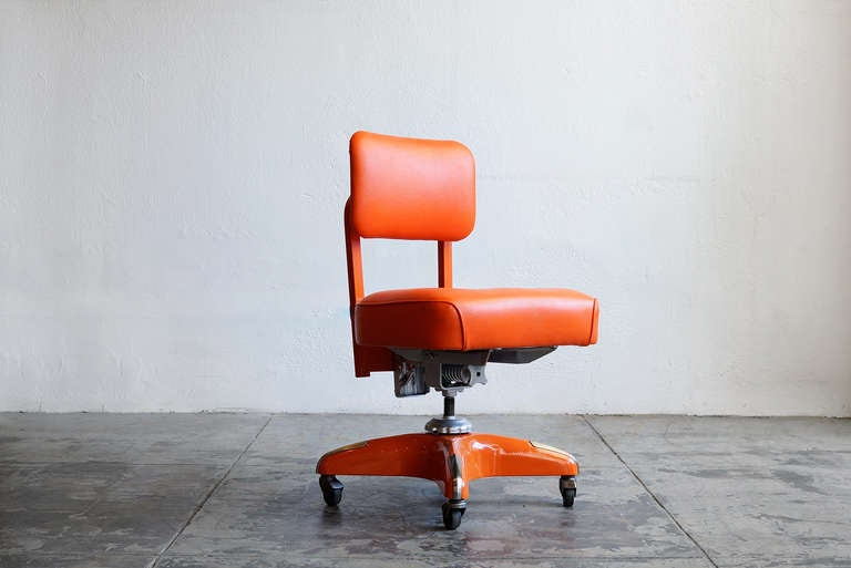 Vintage Armless Task Chair Refinished in Monochrome Orange at 1stdibs