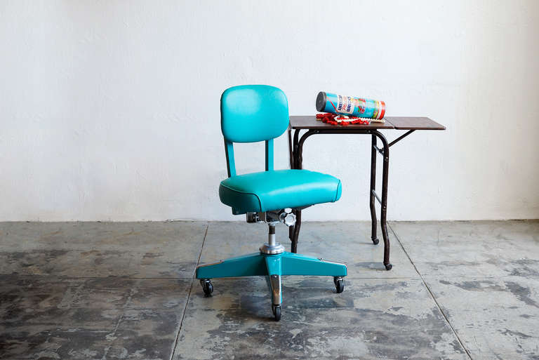 Vintage Armless Task Chair Refinished In Monochrome