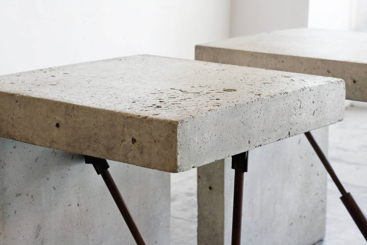 Cast Concrete Display Tables Two Available Circa 1970s At 1stdibs