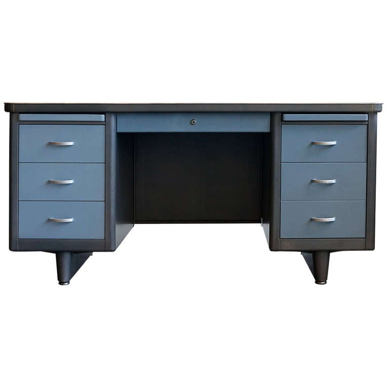 Double Pedestal Tanker Desk Refinished At 1stdibs
