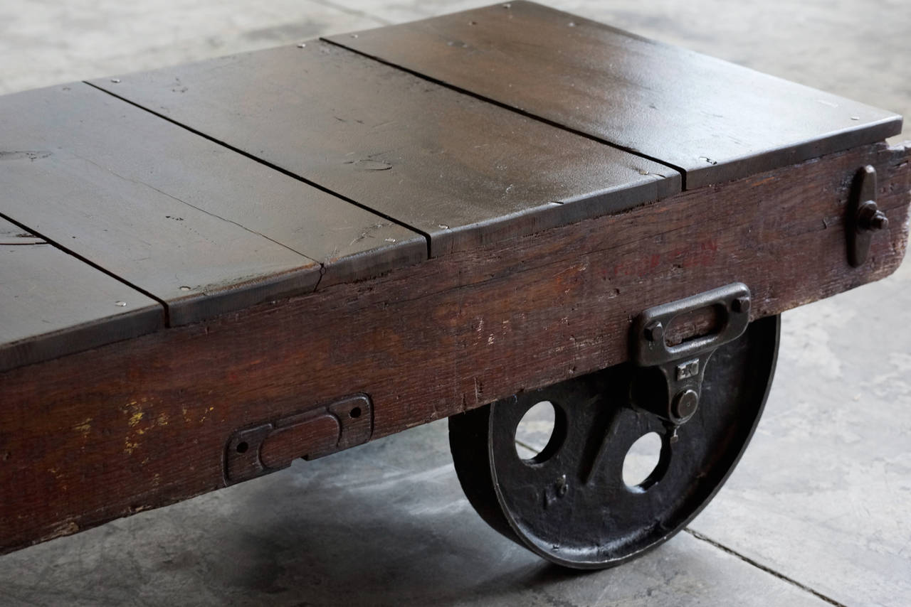 Vintage Industrial Coffee Table Or Cart At 1stdibs