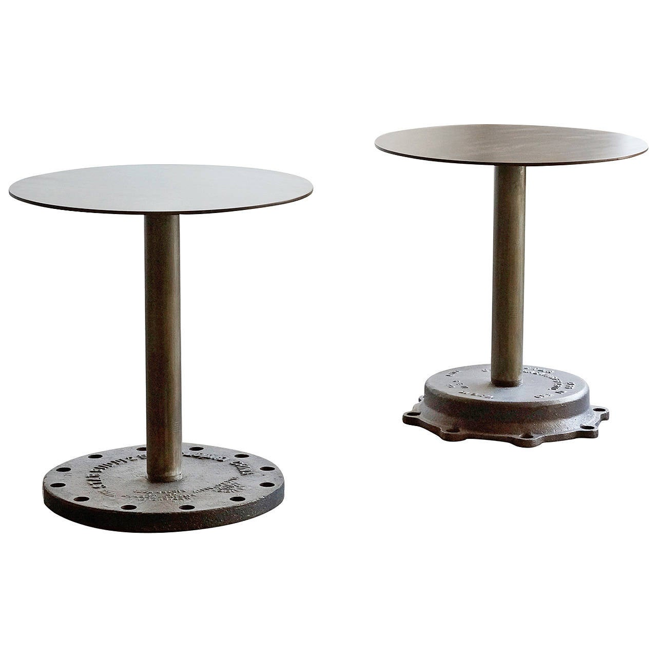 Pair Of Industrial Side Tables At 1stdibs