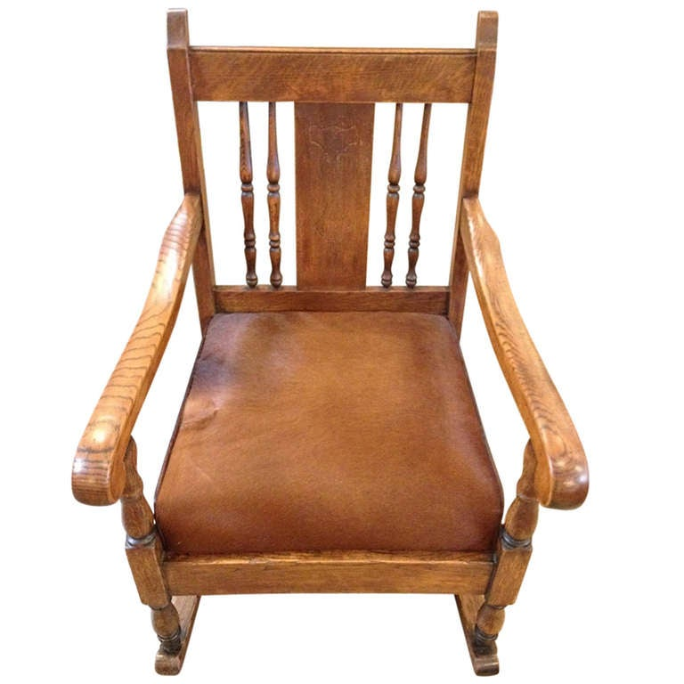 Vintage Rocking Chair, refurbished in Cowhide and Leather at 1stdibs
