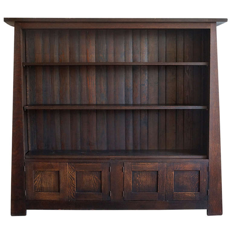 arts and crafts tiger oak bookcase early 1900 39 s at 1stdibs. Black Bedroom Furniture Sets. Home Design Ideas