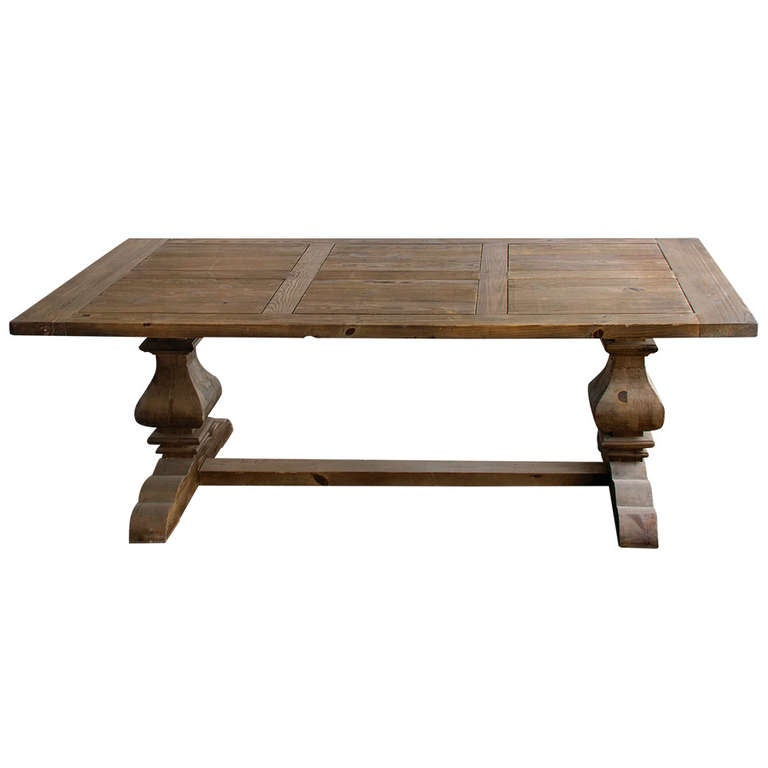 Large provincial farmhouse trestle dining table douglas Farm dining table