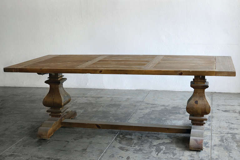 Large Provincial Farmhouse Trestle Dining Table, Douglas Fir 3