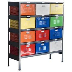 Vintage 3 x 4 Locker Basket Unit, Refinished in Multi-Color