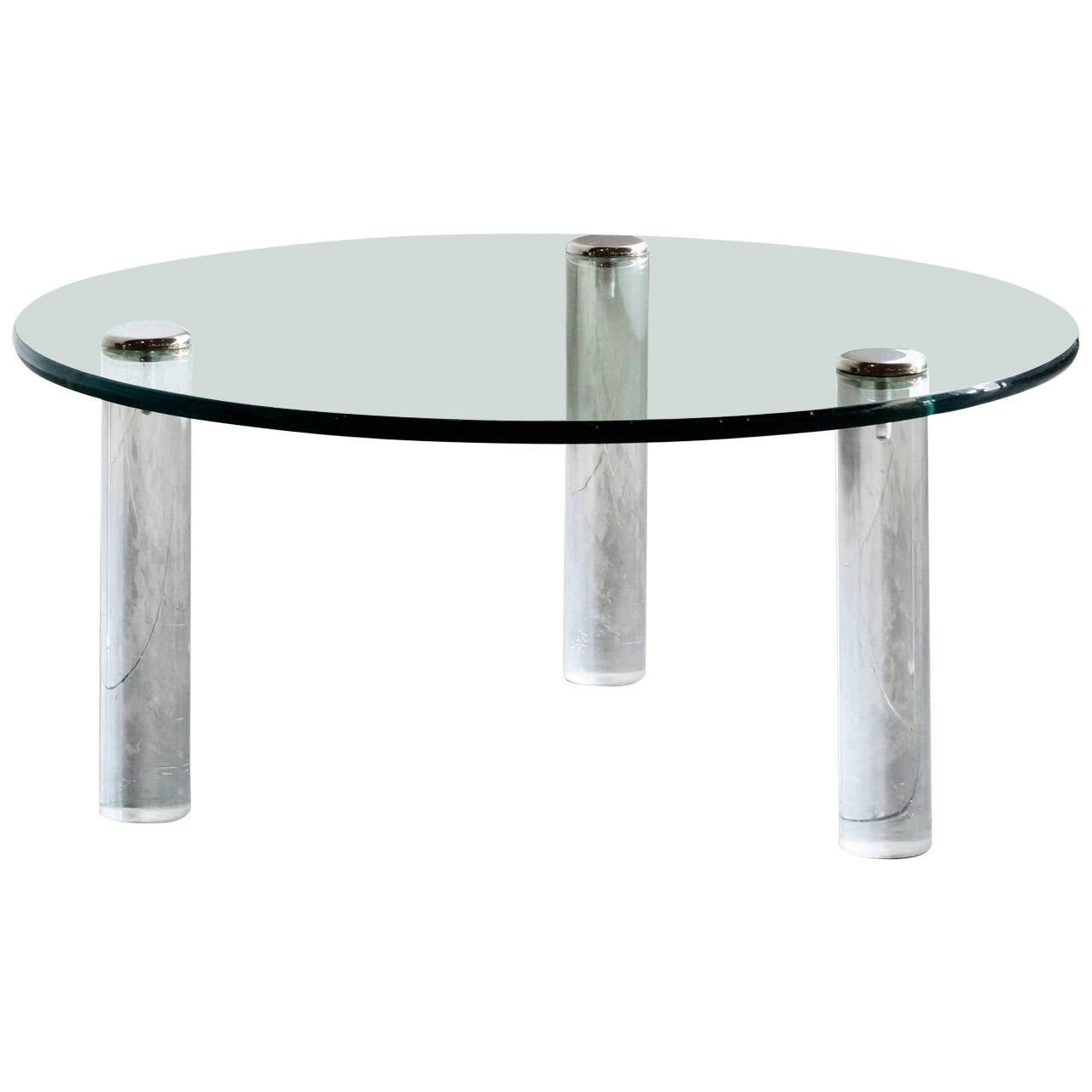 Glass Acrylic And Chrome Coffee Table By Leon Rosen For Pace At 1stdibs