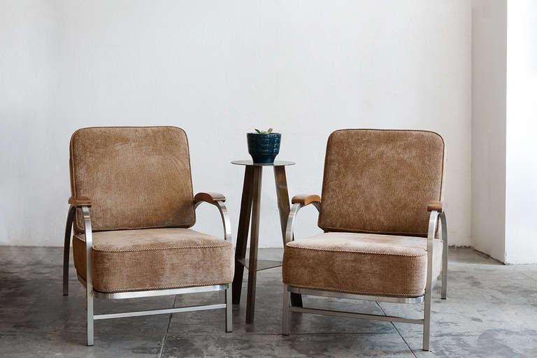 Pair Of Flat Iron Lounge Chairs Custom Made 1930s