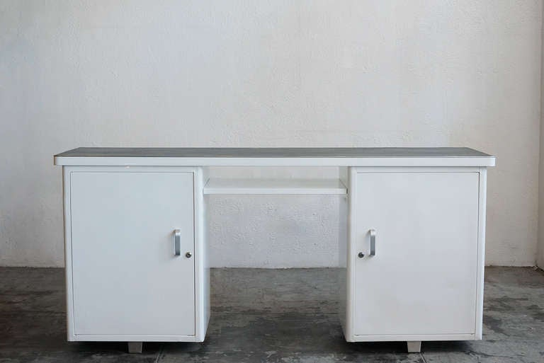Refinished Tanker Console Desk Or Knee Space Credenza At