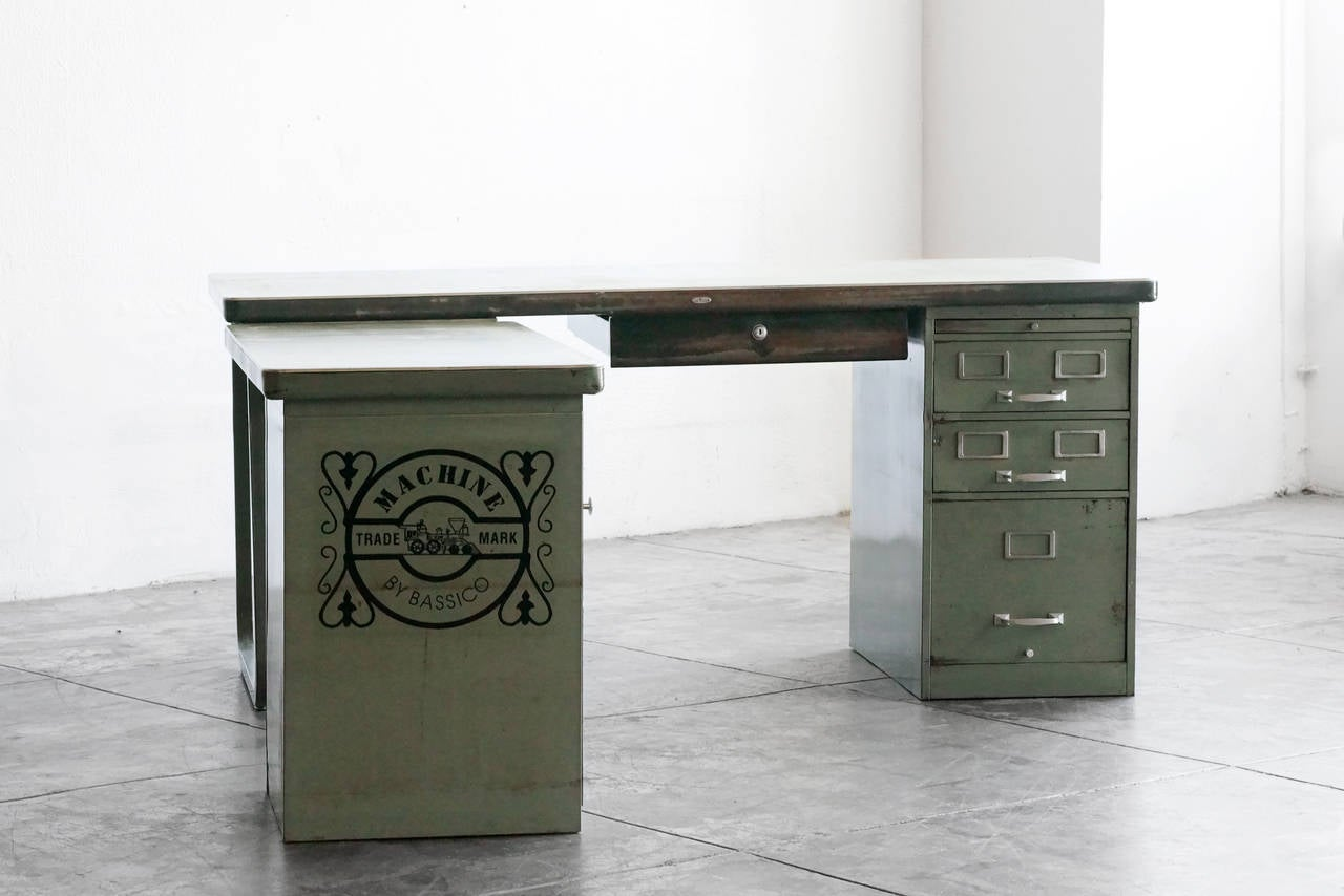 Highly Unusual Modular Steel Desk By Cole Circa 1950 Features Individual Units That