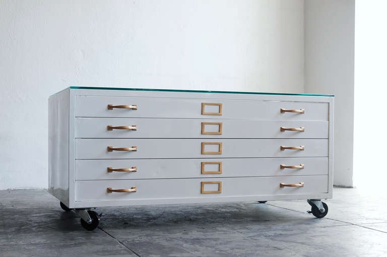 flat file cabinet coffee table in high gloss white with brass