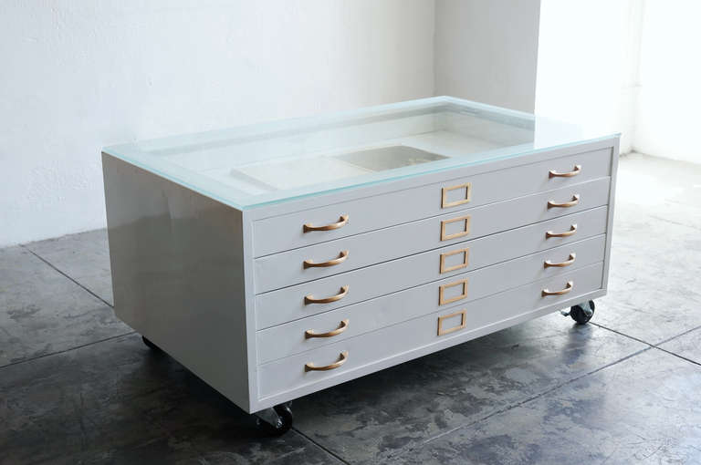 Flat File Cabinet Coffee Table In High Gloss White With Brass Hardware At 1stdibs