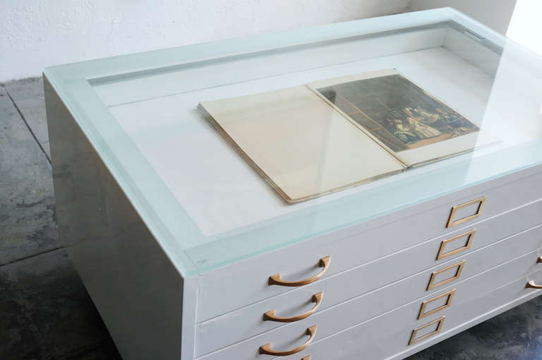 Flat File Cabinet Coffee Table In High Gloss White With Brass Hardware In  Excellent Condition For