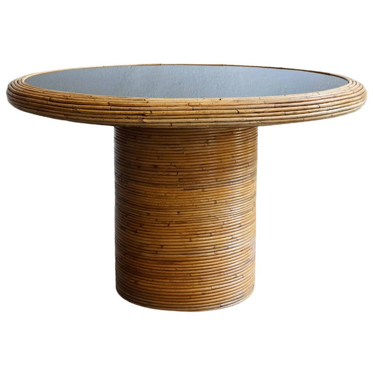 henry olko round rattan dining table at 1stdibs