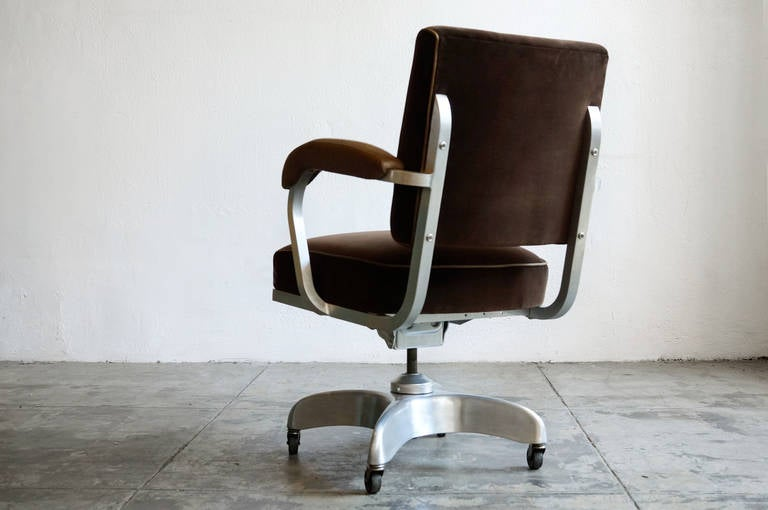 1950s Executive Steno Chair Velvet And Leather At 1stdibs