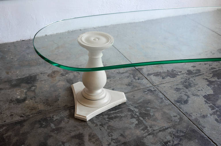Edith Norton Coffee Table With Kidney Shaped Glass And Column Bases At 1stdibs