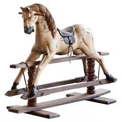 Antique Primitive Rocking Horse on Wooden Trestle Base, Large