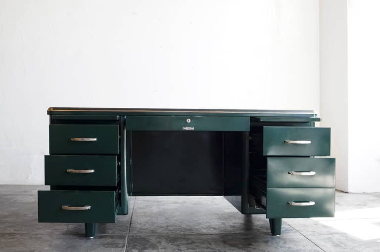 Mcdowell Craig Deco Style Tanker Desk Refinished At 1stdibs