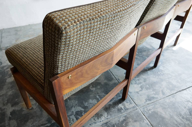 Mid Century Modern Three Seat Bench With Sculpted Back At