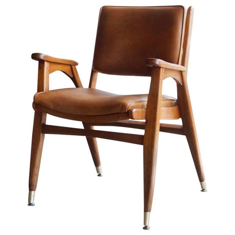 Mid Century Modern Wood Armchair Hans Wegner Style At 1stdibs