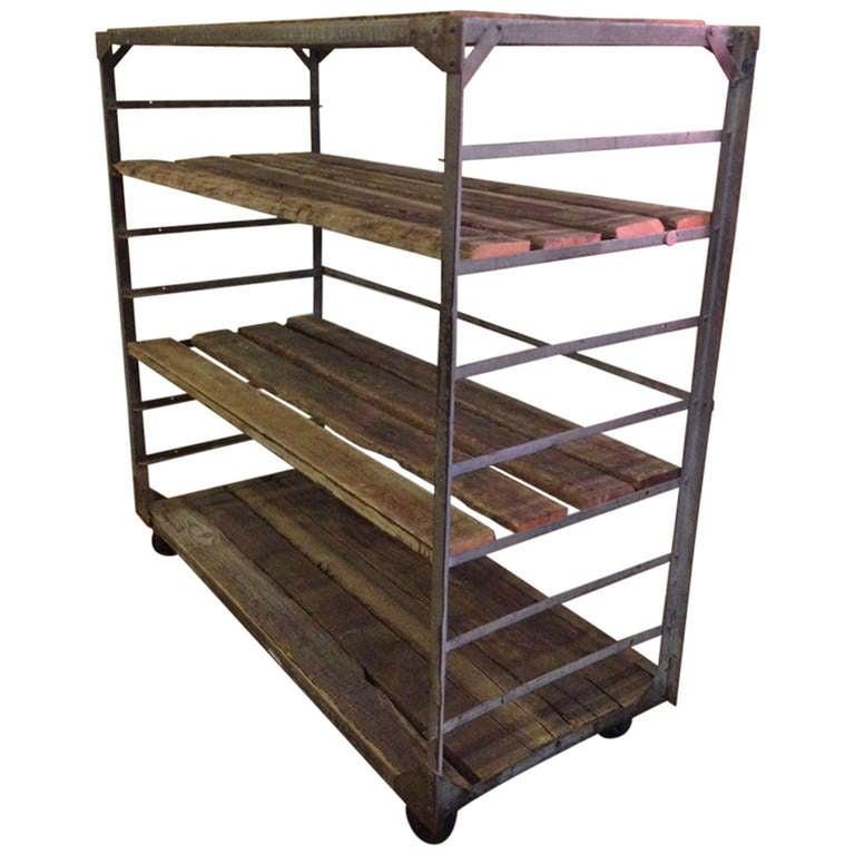reclaimed wood and steel industrial shelving cart at 1stdibs. Black Bedroom Furniture Sets. Home Design Ideas