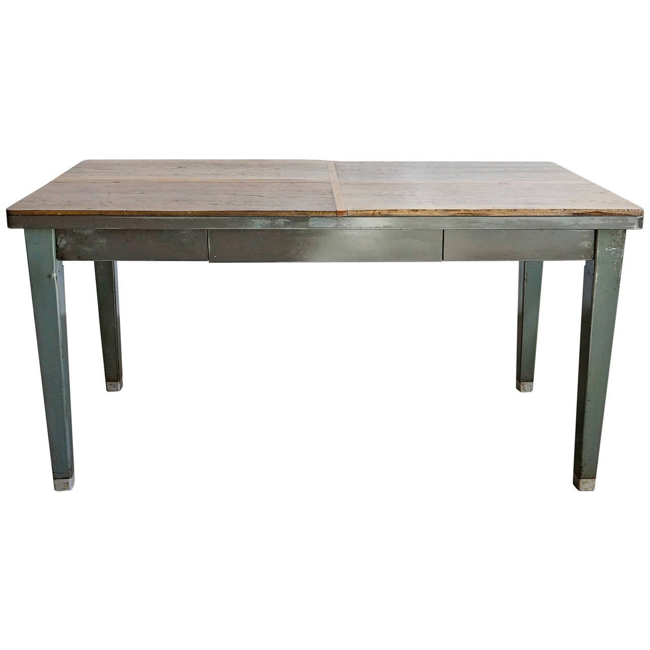 1940s steel tanker table with reclaimed wood top at 1stdibs for Metal desk with wood top