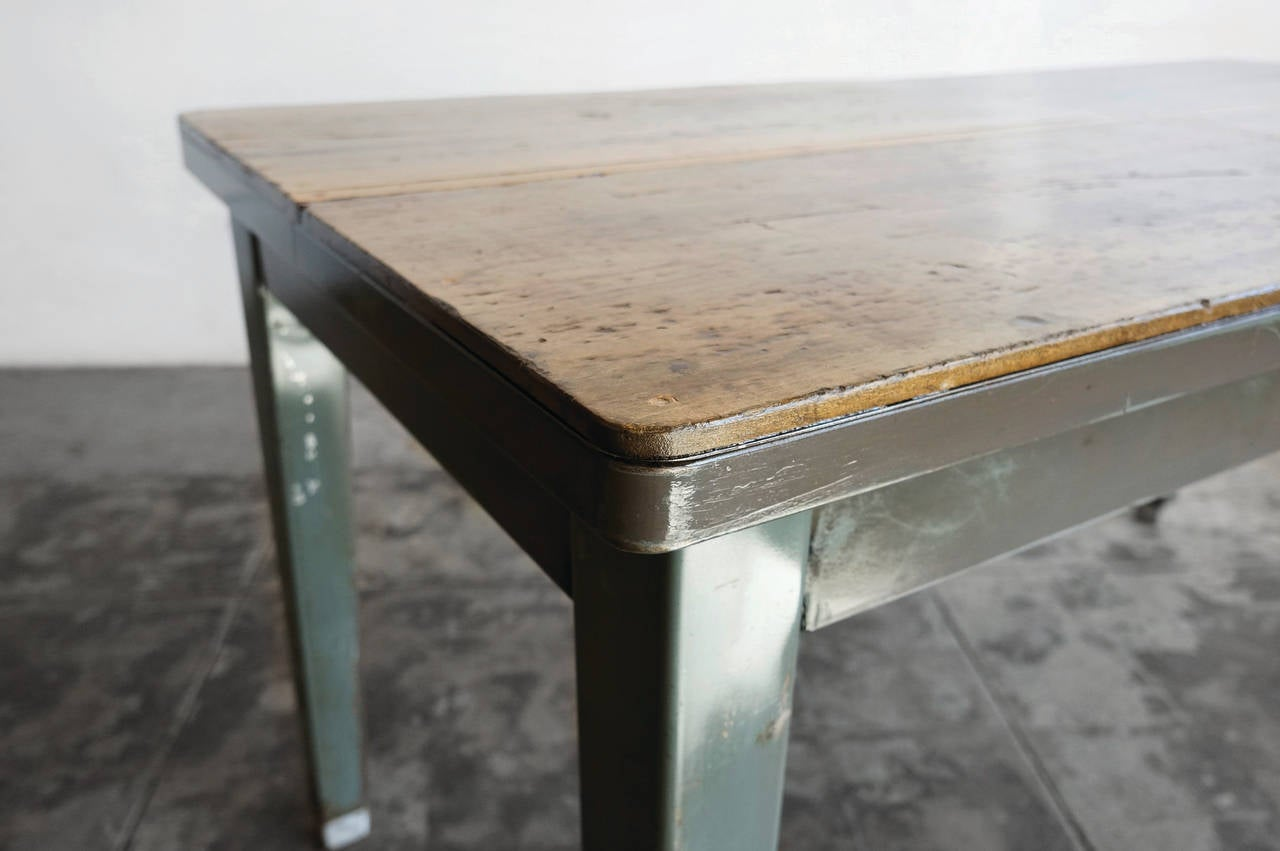 1940s Steel Tanker Table With Reclaimed Wood Top At 1stdibs
