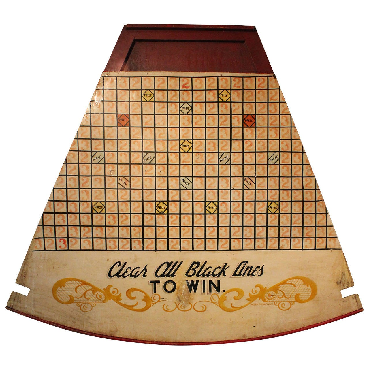 Large Scale Hand Painted Carnival Coin Toss Game Board At