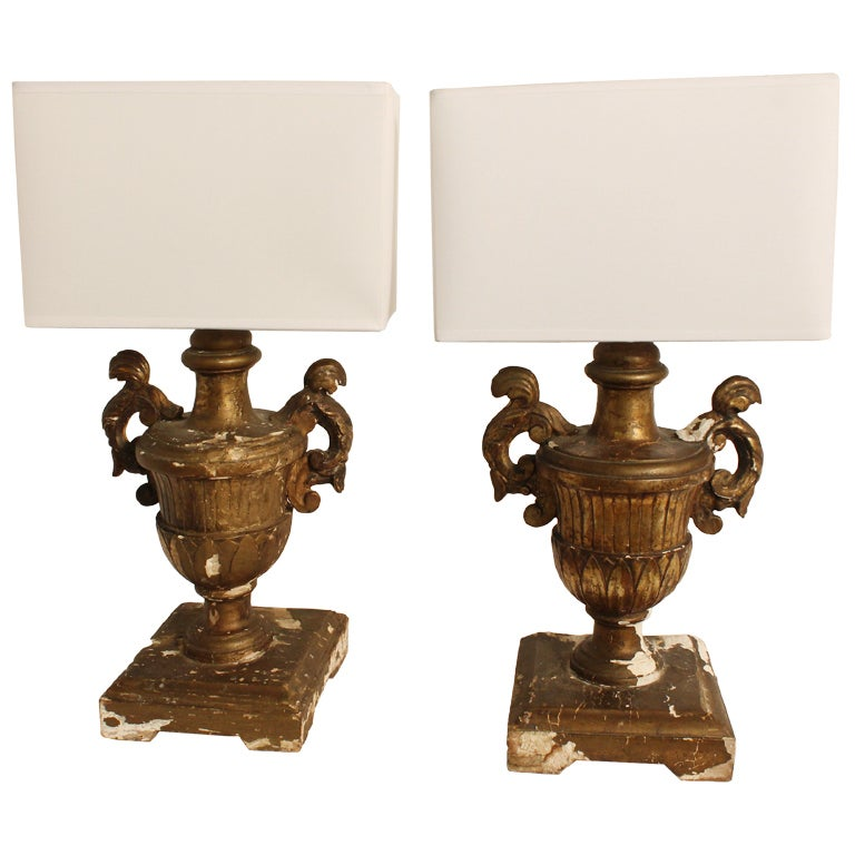 Pair of 19th Century Italian Carved and Gilt Wood Urn Form Lamps