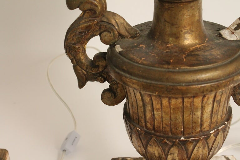 Pair of 19th Century Italian Carved and Gilt Wood Urn Form Lamps image 2