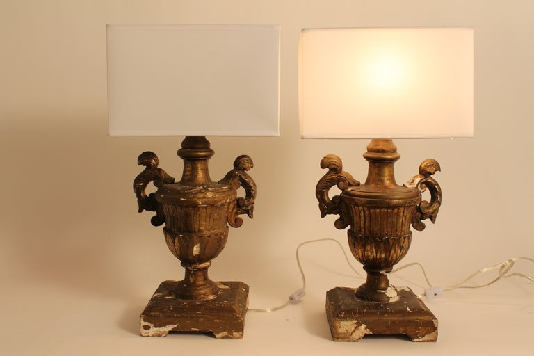 Pair of 19th Century Italian Carved and Gilt Wood Urn Form Lamps image 6