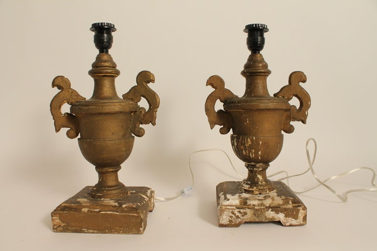Pair of 19th Century Italian Carved and Gilt Wood Urn Form Lamps image 10
