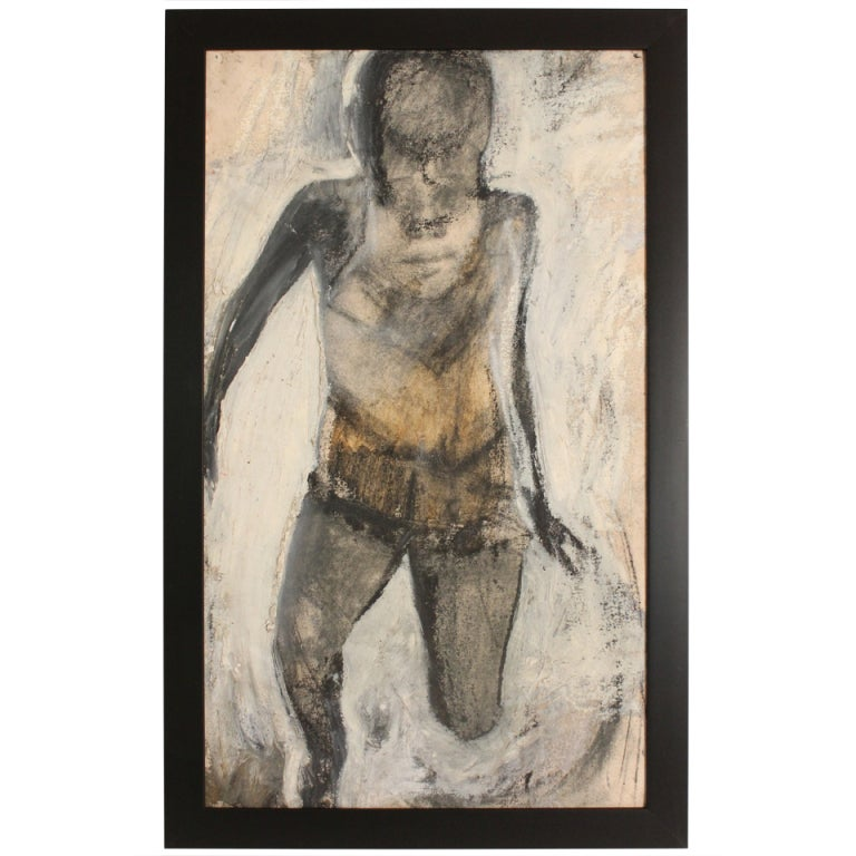 Gestural Abstract Impasto Canvas of a Bather