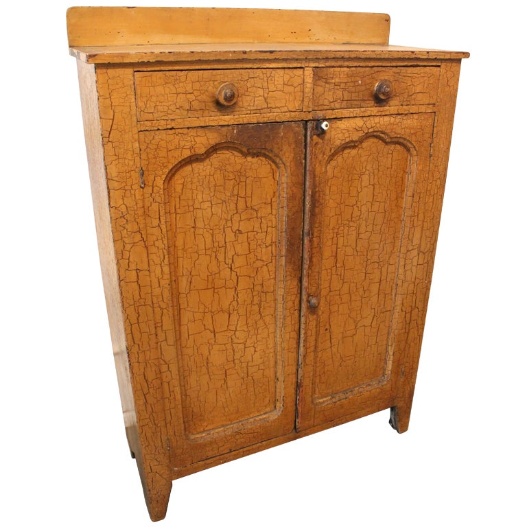 Crackle Kitchen Cabinets: 19th Century Mustard Crackle Painted Cabinet At 1stdibs