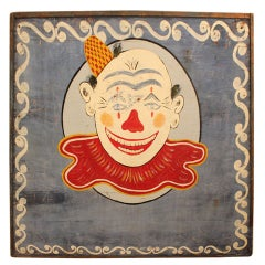 Traveling Circus Hand Painted Clown Advertising Sign