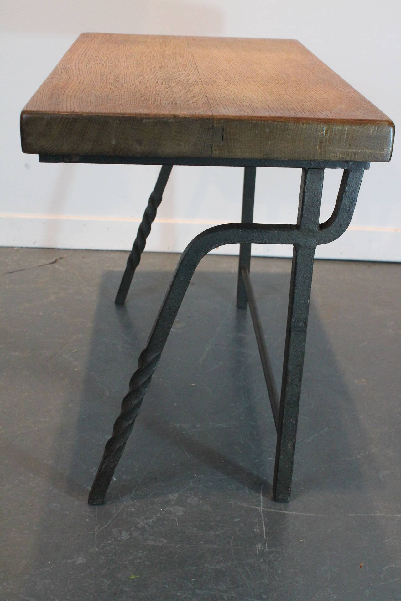 Wrought iron and oak belgian nesting tables at stdibs