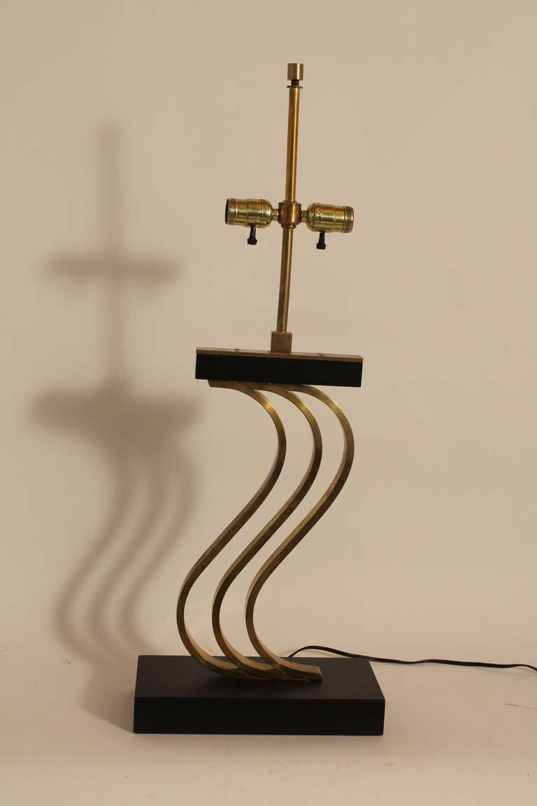mid century modern majestic brass and ebonized wood table lamp image 5