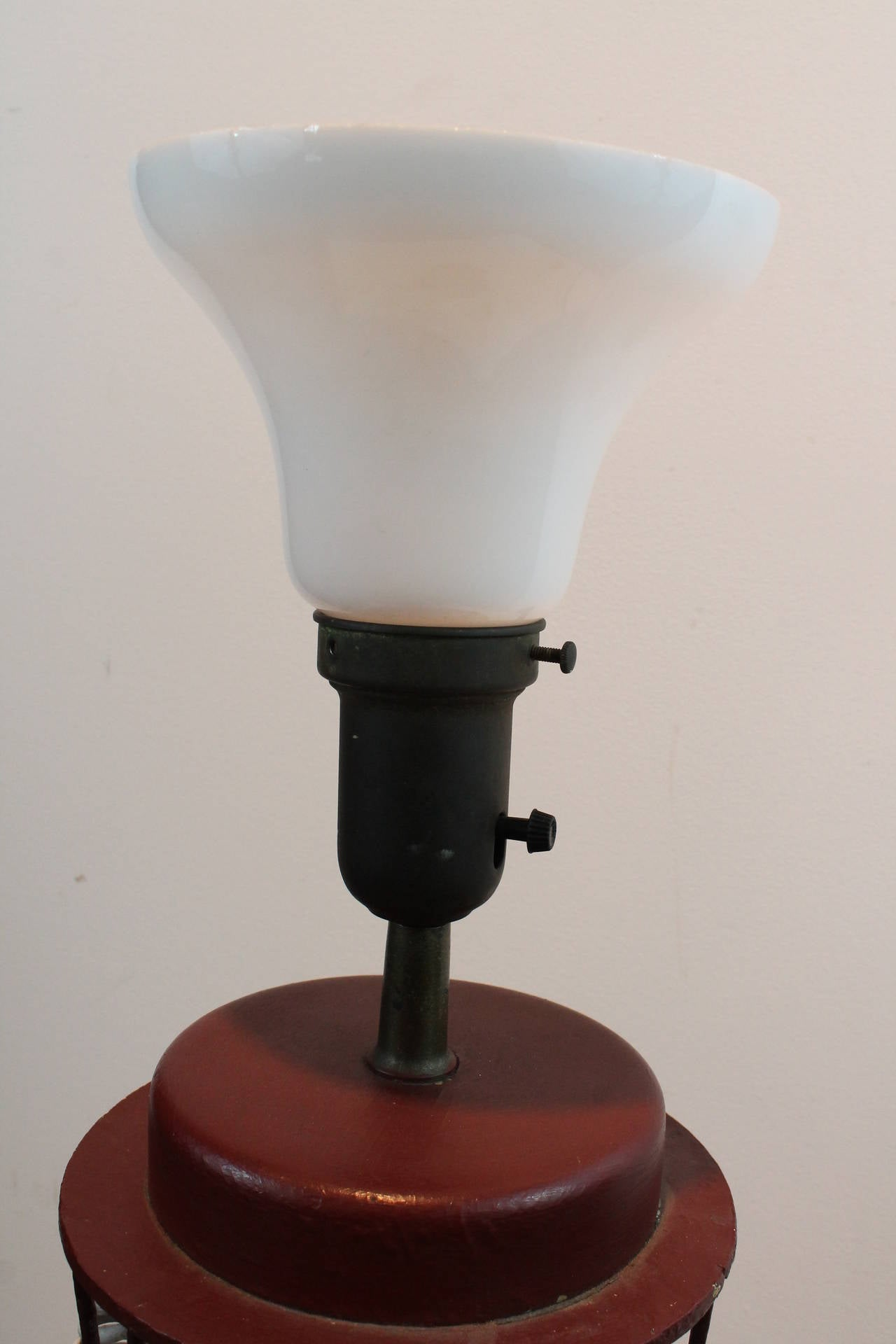 Handmade modernist folk art iron cone finial form table lamp at 1stdibs - Hand made lamps ...