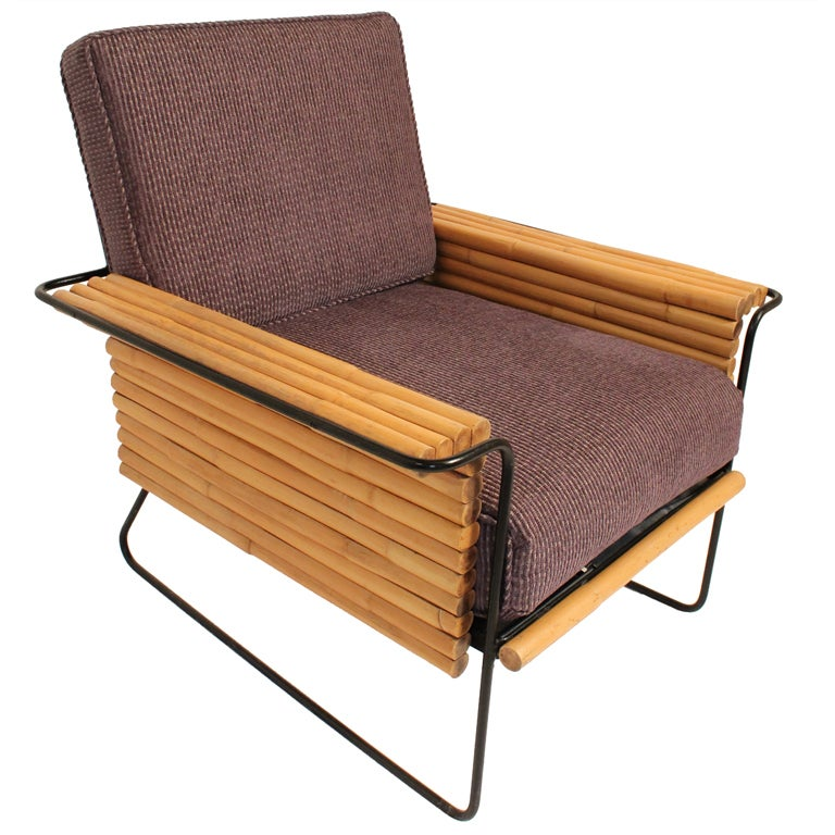 Ritts And Co Mid Century Bamboo And Iron Lounge Chair At