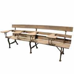 Early 20th Century Oak and Iron School Bench